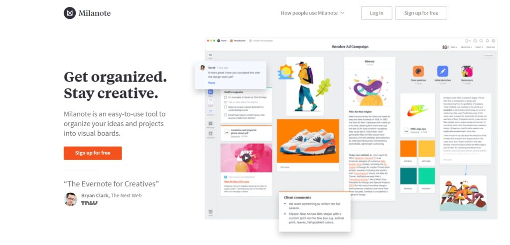 Milanote is one of the user friendly writing tools for writers