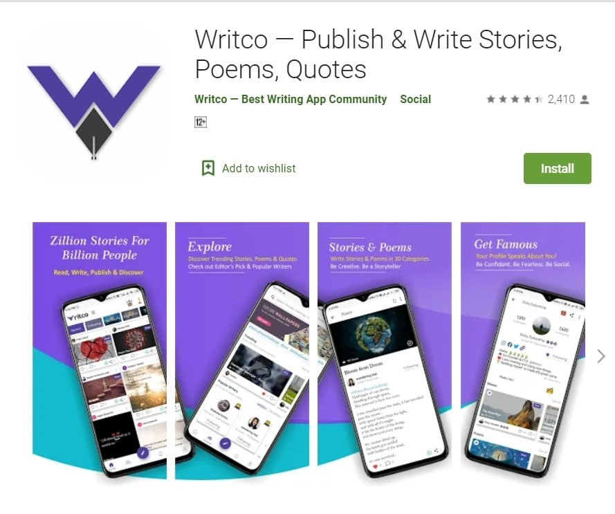 Writco App: Publish and Write Stories