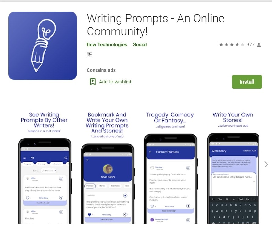 Writing Prompts App. This is one of the best writing apps for writers.