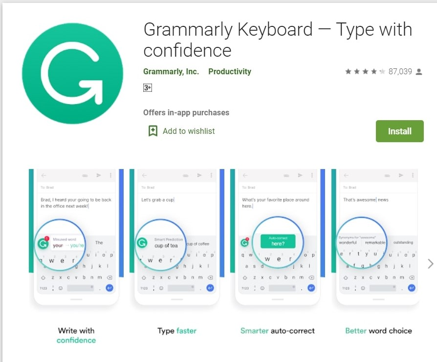 Grammarly Keyboard App