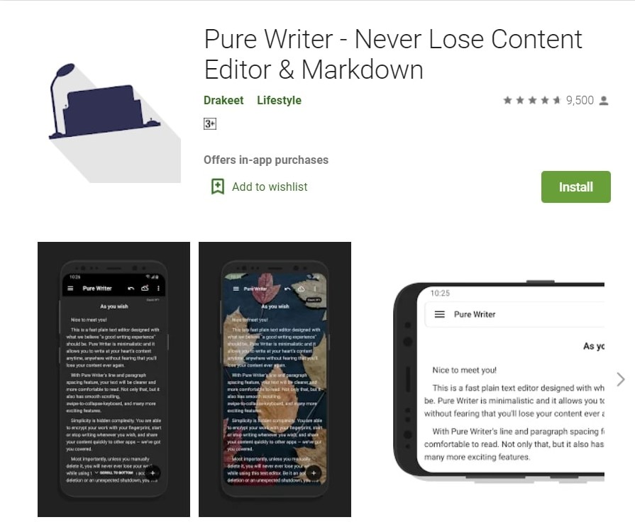 Pure Writer App: Editor and Markdown