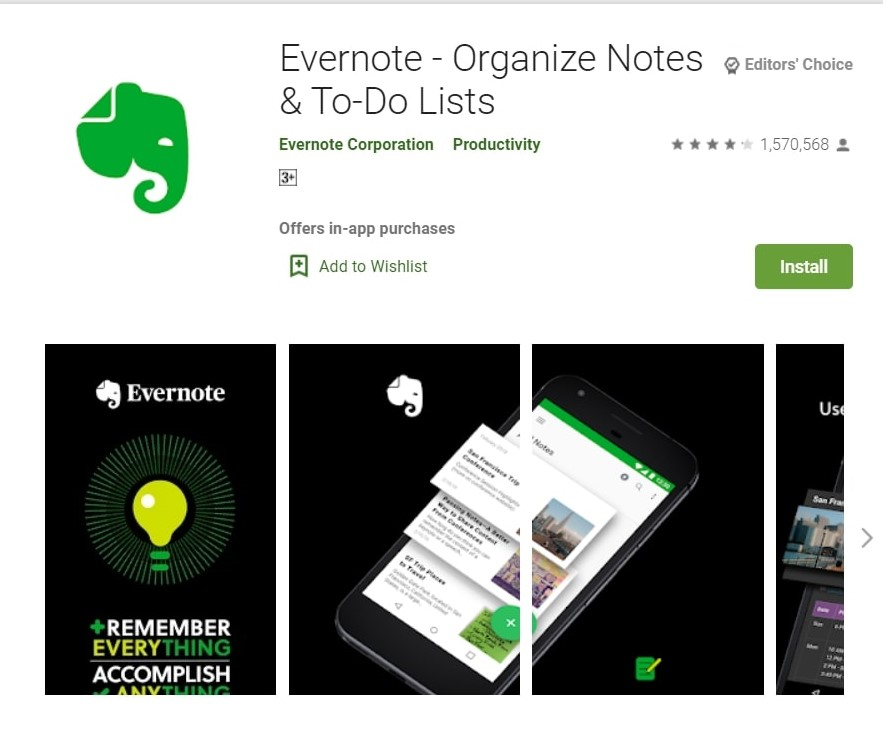 Evernote App: Organize Notes, This is one of the best writing apps for writers.