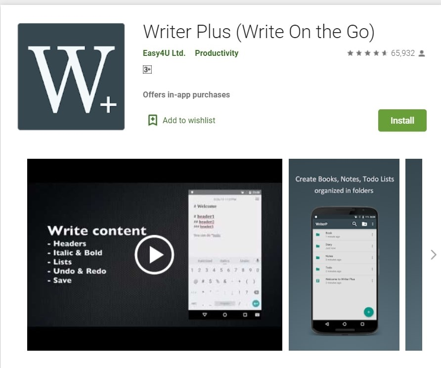 Writer Plus App: Write On The Go. This is one of the best writing apps for writers.
