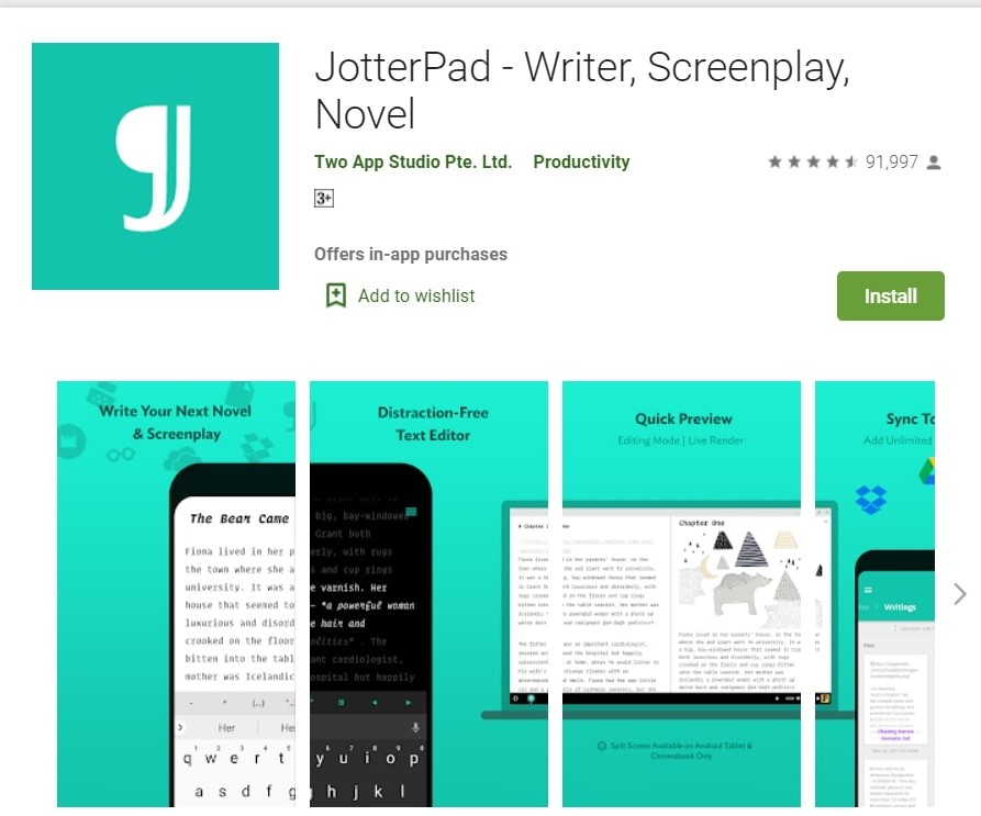 JotterPad App: Writer, Screenplay and Novel