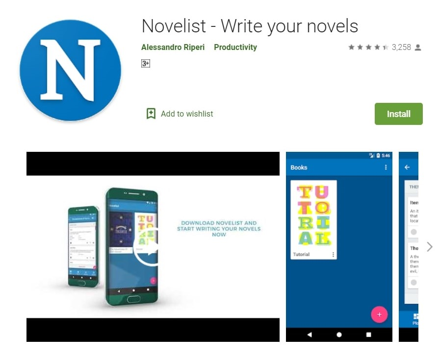 Novelist App: Write your novels. This is one of the best writing apps for writers.