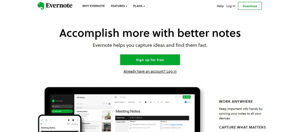 Evernote is one of the must have book writing software for writers